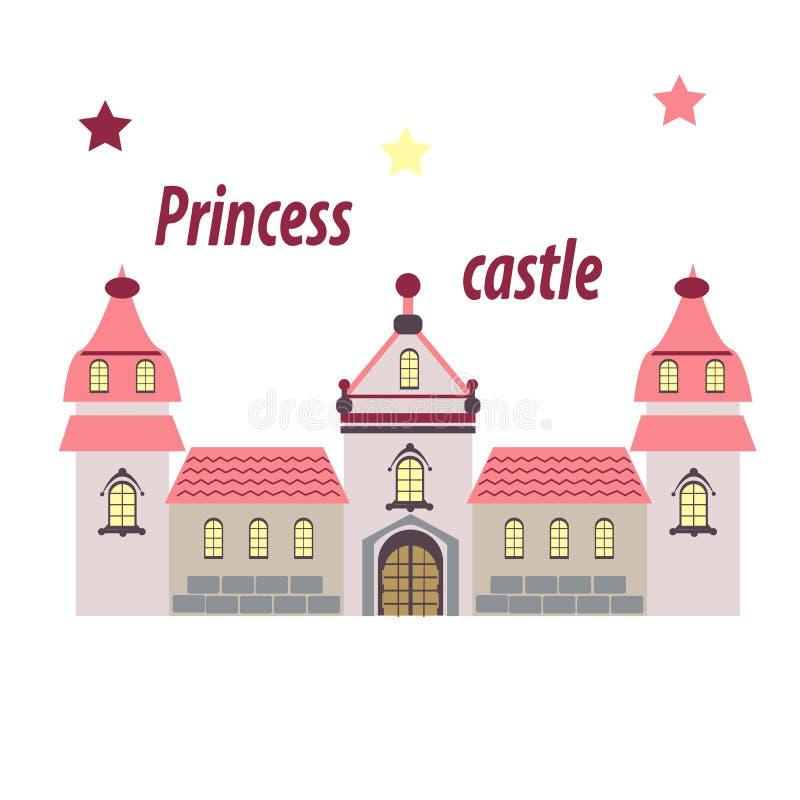 Castelo para a princesa, palácio em um fundo branco ilustração stock