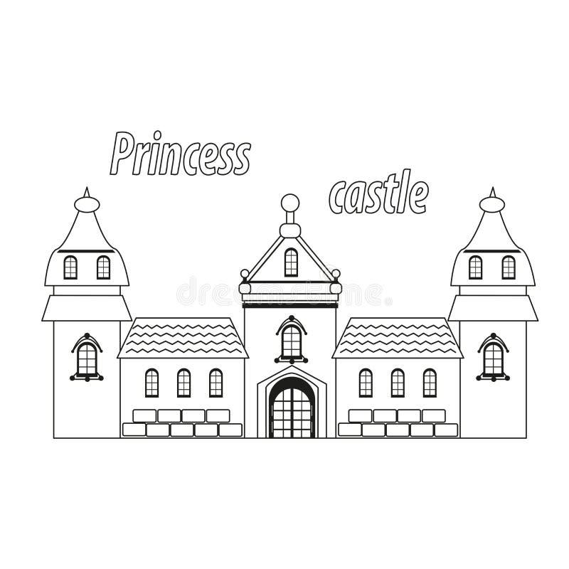 Castelo para a princesa, palácio em um fundo branco ilustração royalty free