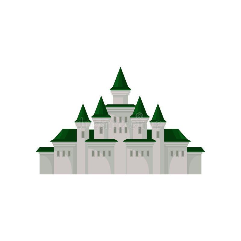 Castelo real grande Palácio medieval com torres e os telhados cônicos verdes Elemento liso do vetor para o jogo móvel ilustração do vetor