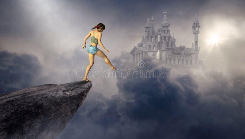 Castelo surreal da fantasia, mulher, penhasco ilustração do vetor