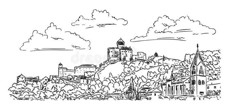 Castelo Trencin ilustração do vetor