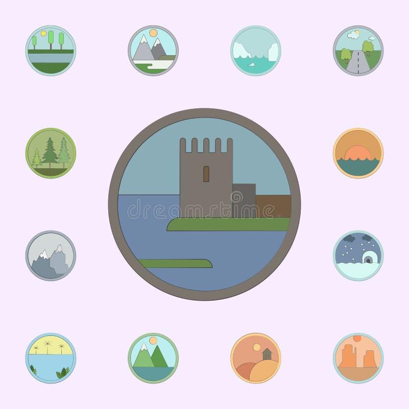 Castelo velho colorido no ?cone do c?rculo grupo universal dos ?cones das paisagens para a Web e o m?bil ilustração do vetor