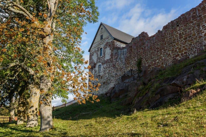 Castelo velho com a árvore em ilhas de Aland imagem de stock royalty free