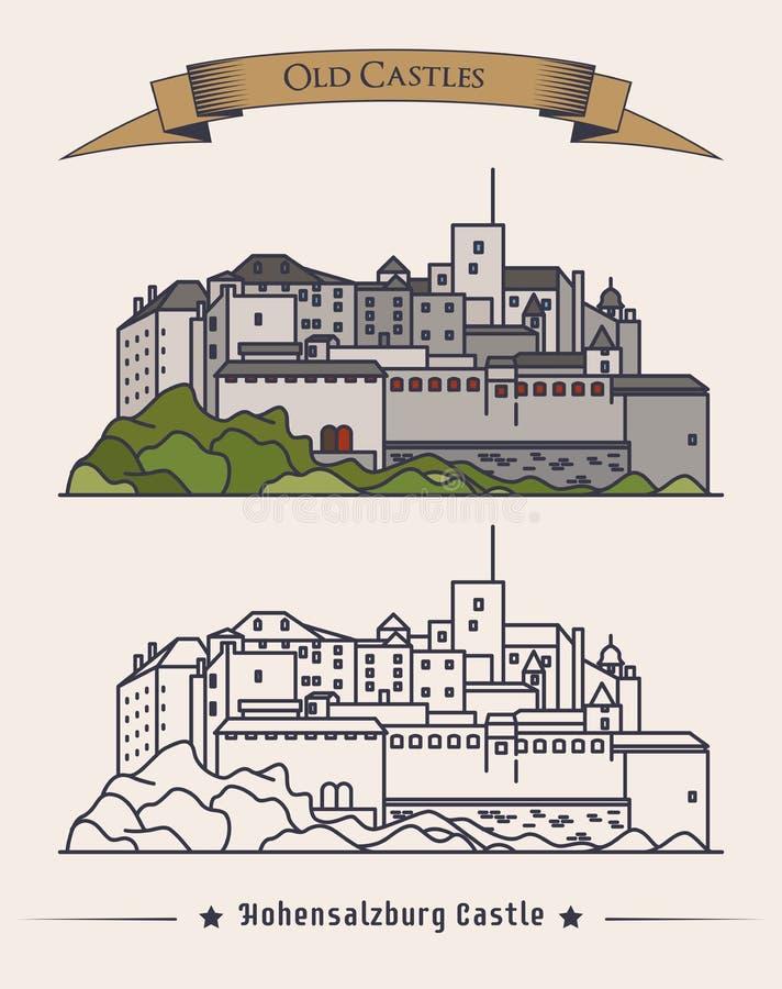 Castelo velho de Hohensalzburg em Áustria, Salzburg Vista exterior da arquitetura do palácio ou da construção retro na montanha p ilustração royalty free
