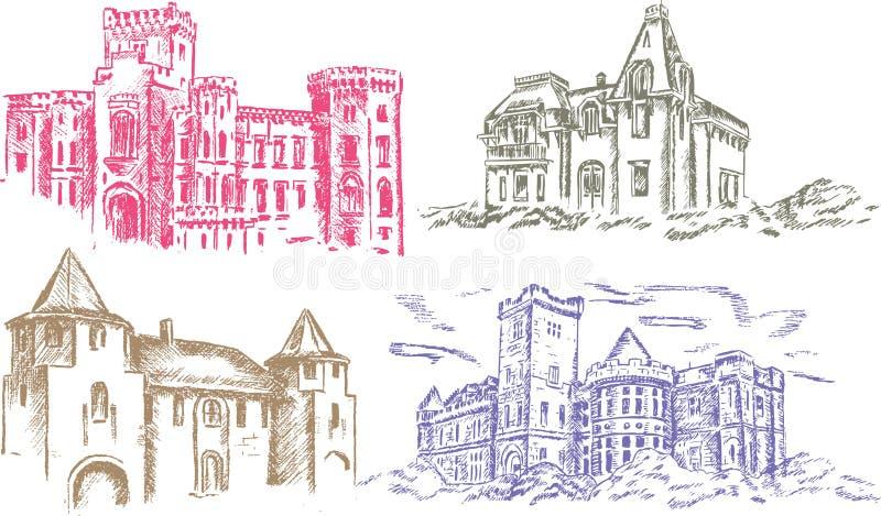 Castelo velho - desenho da mão ilustração do vetor