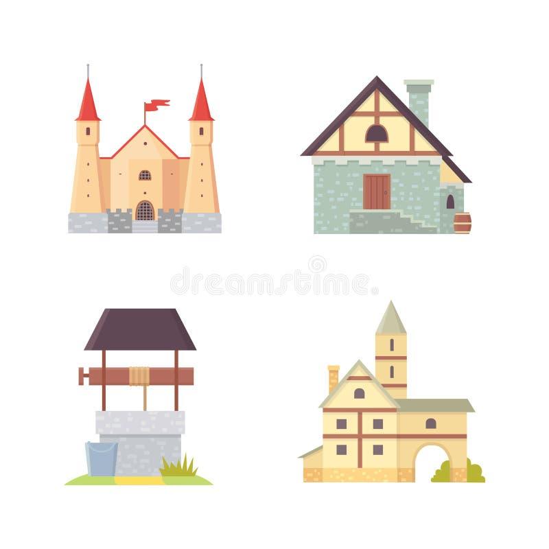 Castelo velho, ilustrações do vetor da construção do palácio de Europa Construções históricas medievais, torres da arquitetura e  ilustração do vetor