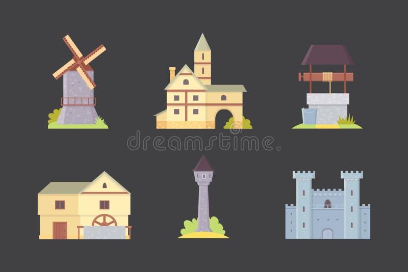 Castelo velho, ilustrações do vetor da construção do palácio de Europa Construções históricas medievais, torres da arquitetura e  ilustração stock