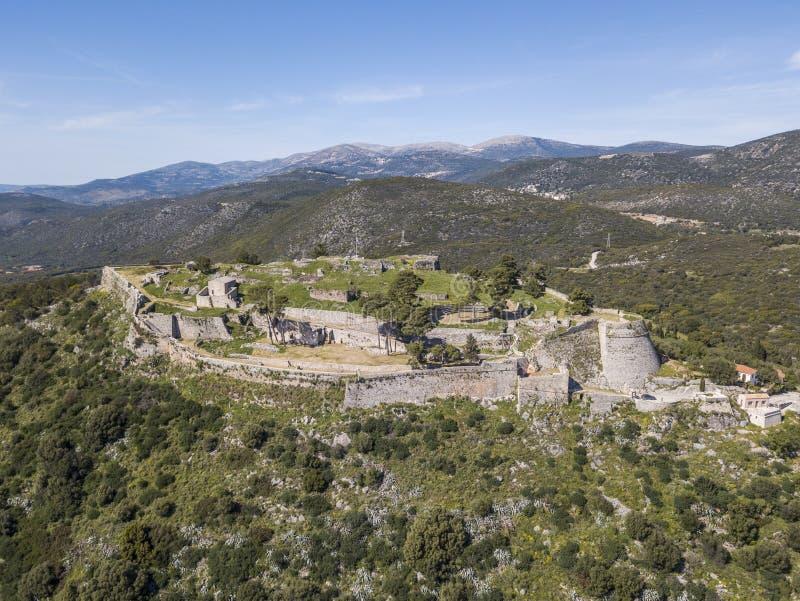 Castelo Venetian notável de Saint George Agios Georgios na ilha de Kefalonia imagem de stock royalty free