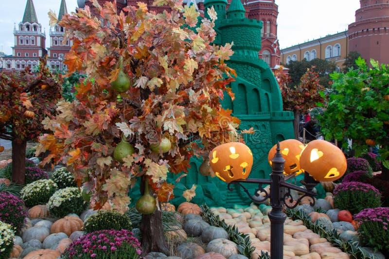 Castelo verde da areia Helluin, abóboras em um polo Árvores do outono com grandes peras, flores coloridas imagens de stock