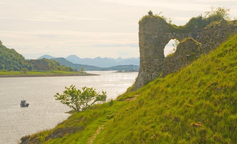 Castelo Wester Ross de Strome. imagens de stock