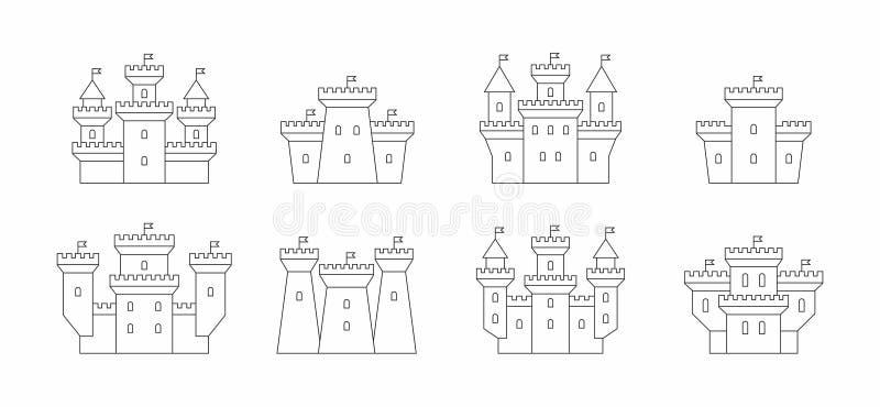 Castelos e ícones das fortaleza ajustados ilustração royalty free