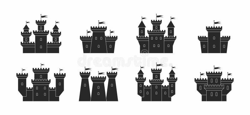 Castelos e ícones das fortaleza ajustados ilustração do vetor