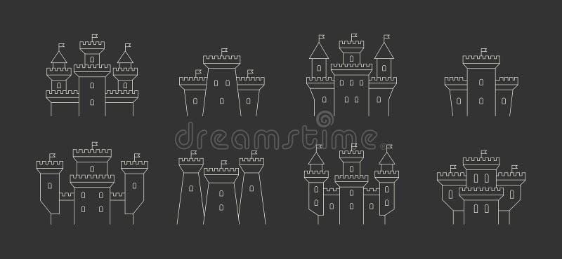 Castelos e ícones das fortaleza ajustados ilustração stock