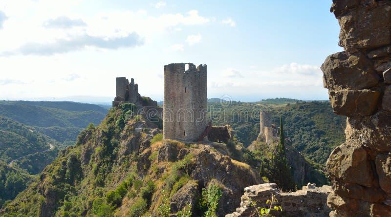 4 castelos em castelos de Lastours fotografia de stock