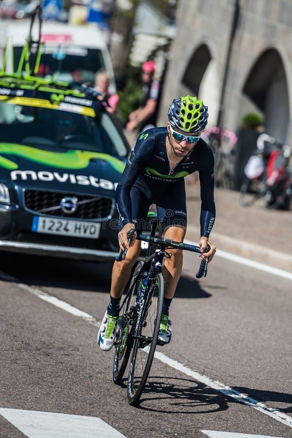 Castelrotto, Ιταλία στις 22 Μαΐου 2016  Ο επαγγελματικός ποδηλάτης του Giovanni Visconti, κατά τη διάρκεια μιας δοκιμής δυσκολίας στοκ εικόνα με δικαίωμα ελεύθερης χρήσης