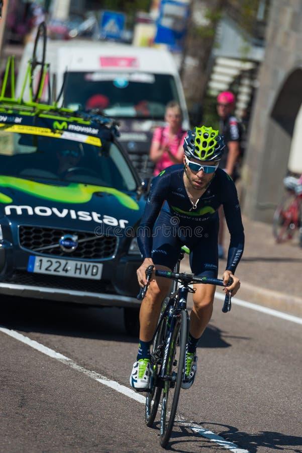 Castelrotto, Itália 22 de maio de 2016; Ciclista profissional de Giovanni Visconti, durante uma escalada experimental da dificuld fotos de stock royalty free