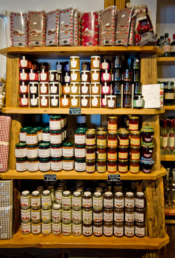 Free Castelrotto Speck Shop Interior Stock Images - 56862444