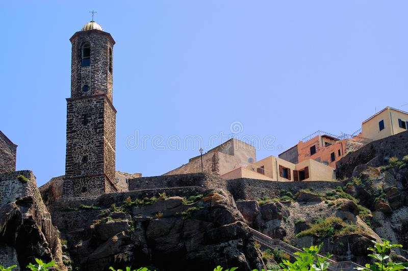 Castelsardo Cathedral, Sardinia stock images