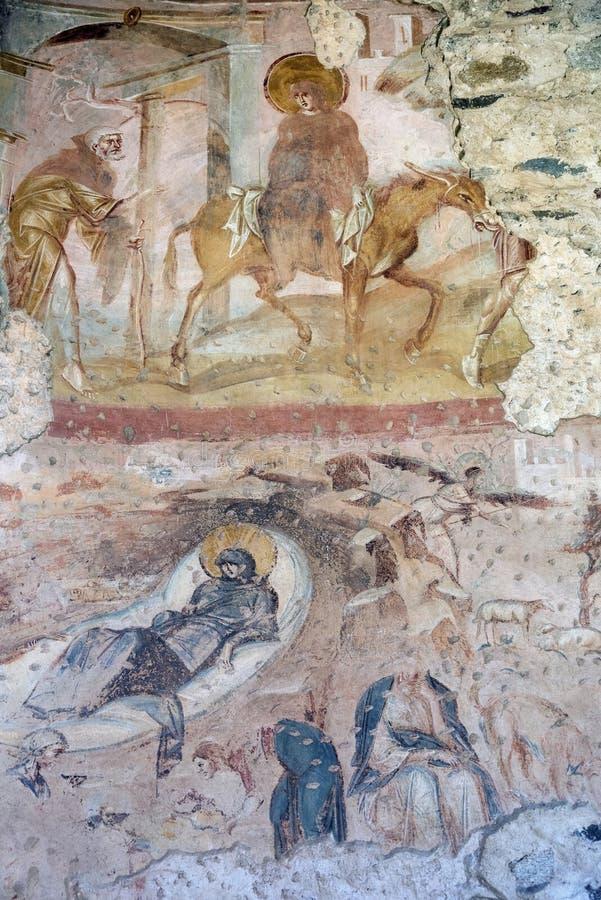 Castelseprio & x28 Λομβαρδία, Italy& x29 , έργα ζωγραφικής στην εκκλησία στοκ φωτογραφία
