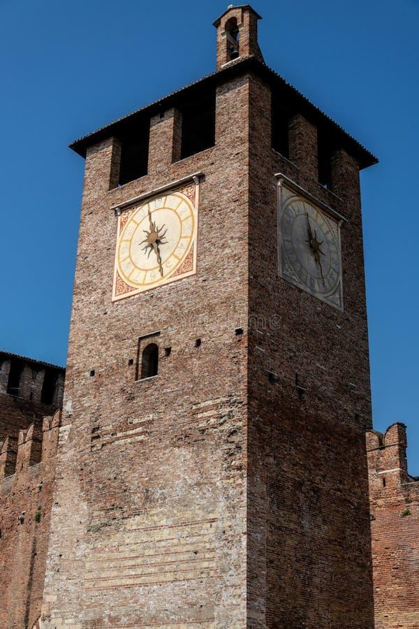 Castelvecchio Clocktower,维罗纳,意大利 库存图片