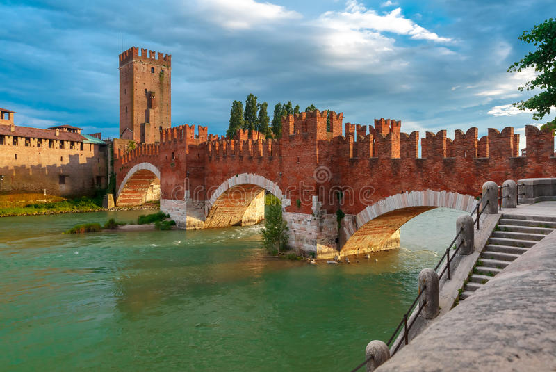 Castelvecchio at sunset in Verona, Italy. stock photos