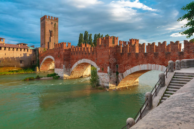 Castelvecchio at sunset in Verona, Italy. royalty free stock photo