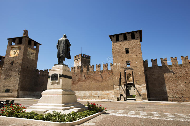 Castelvecchio Verona - Italië (1357) stock afbeelding
