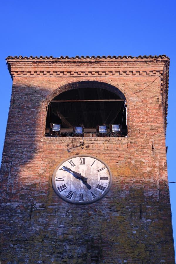 Castelvetro's clock tower. The clock tower of Castelvetro, Middle age italian village stock photos