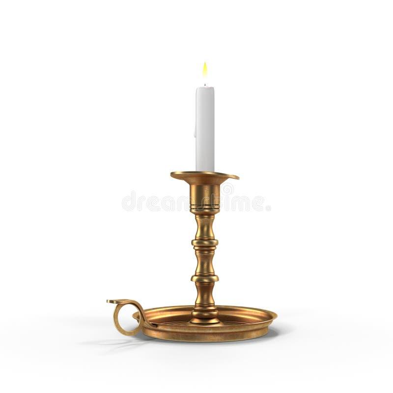 Castiçal antigo do metal com vela ardente no fundo branco ilustração 3D ilustração do vetor