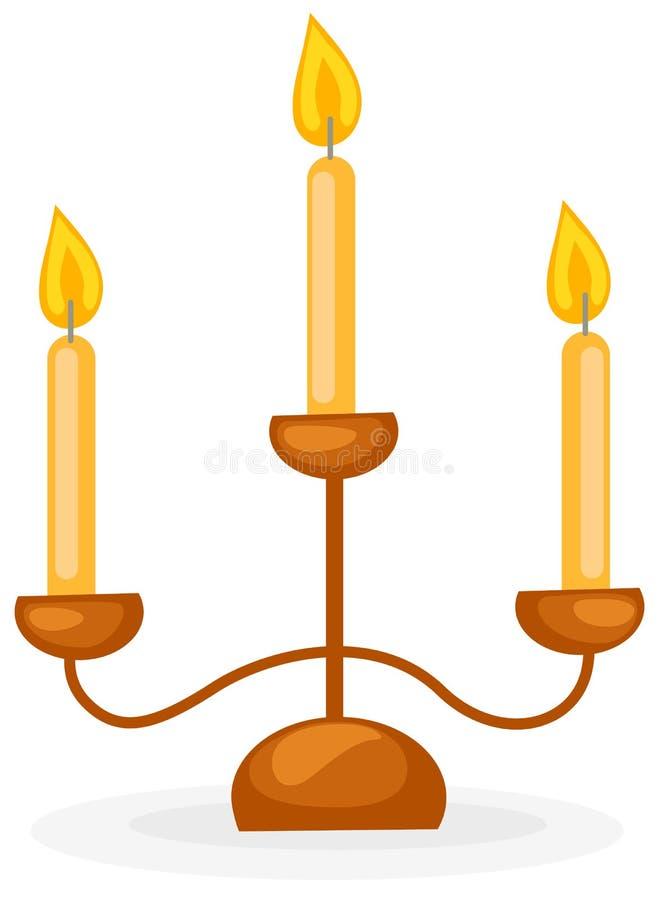 Castiçal com três velas ilustração stock