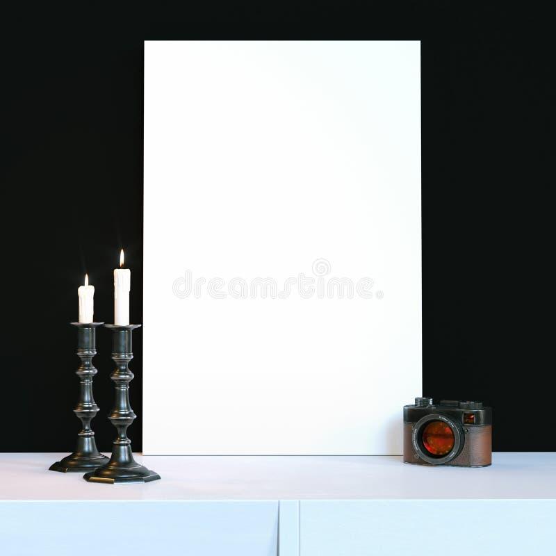 Castiçal de dois vintages com velas e a câmera ardentes do vintage ilustração do vetor