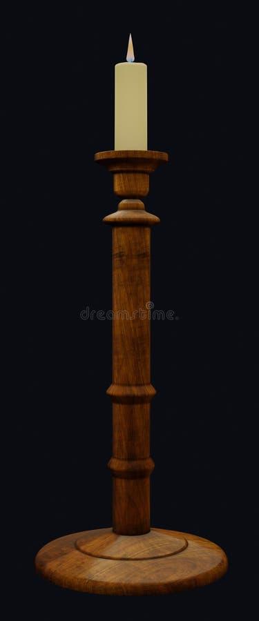 Castiçal de madeira com vela iluminada da cera ilustração royalty free