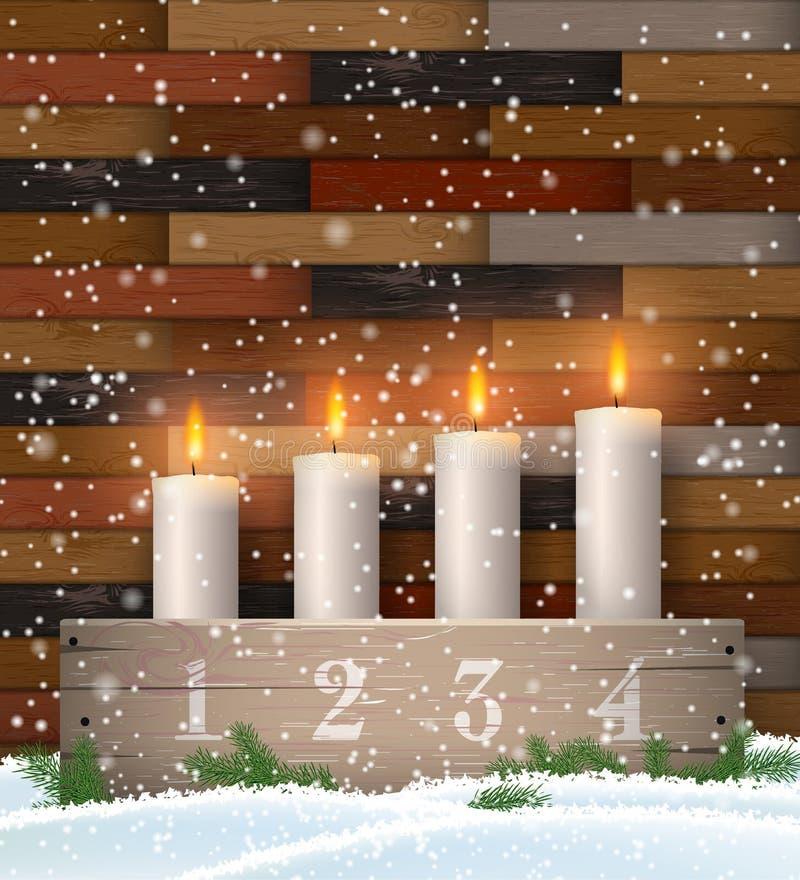 Castiçal do advento com quatro velas brancas ilustração royalty free