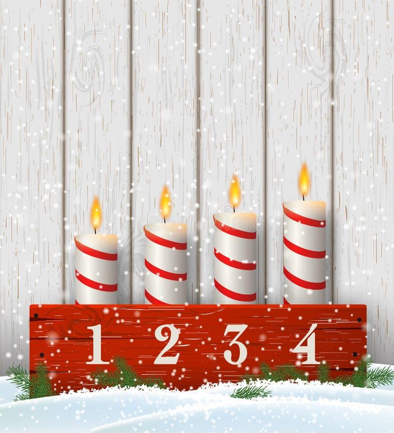 Castiçal do advento com quatro velas brancas ilustração stock