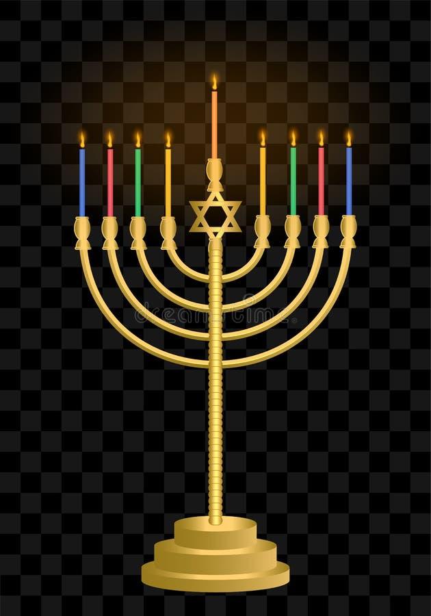Castiçal do Hanukkah hanukkah Velas judaicas do feriado Festival de luz judaico ilustração royalty free