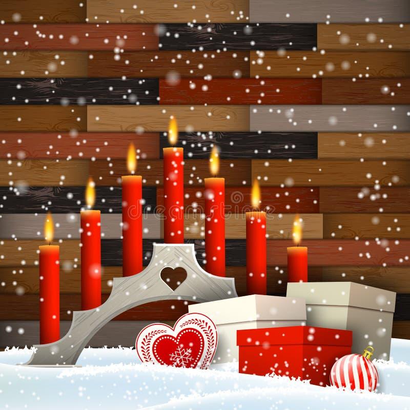 Castiçal do Natal com velas e caixas de presente ilustração stock