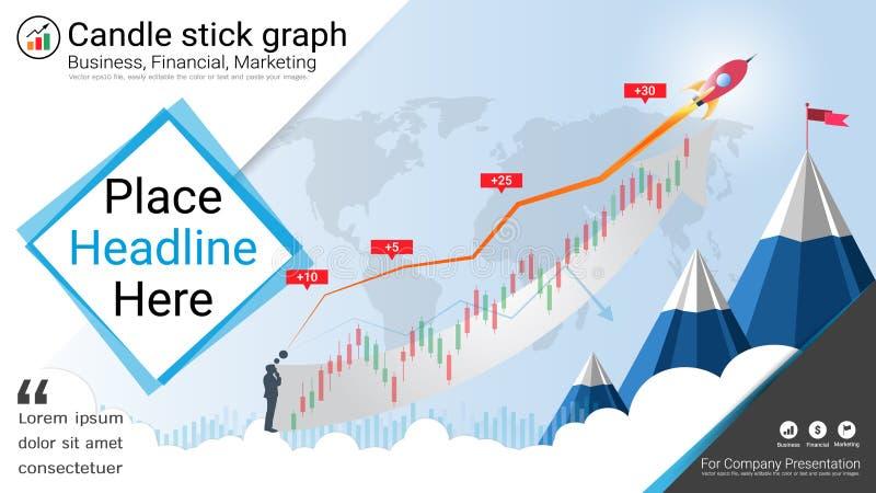 Castiçal e cartas financeiras do gráfico, molde das apresentações de Infographic ilustração do vetor