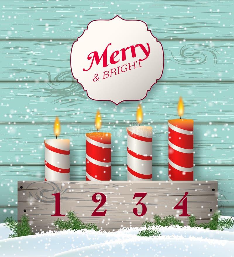 Castiçal rústico do advento do Natal com velas na neve ilustração do vetor