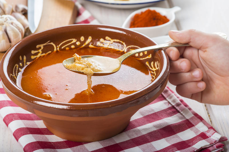 Castilian or garlic soup with eggs. Traditional Spanish Castilian or garlic soup with eggs and its ingredients royalty free stock photos