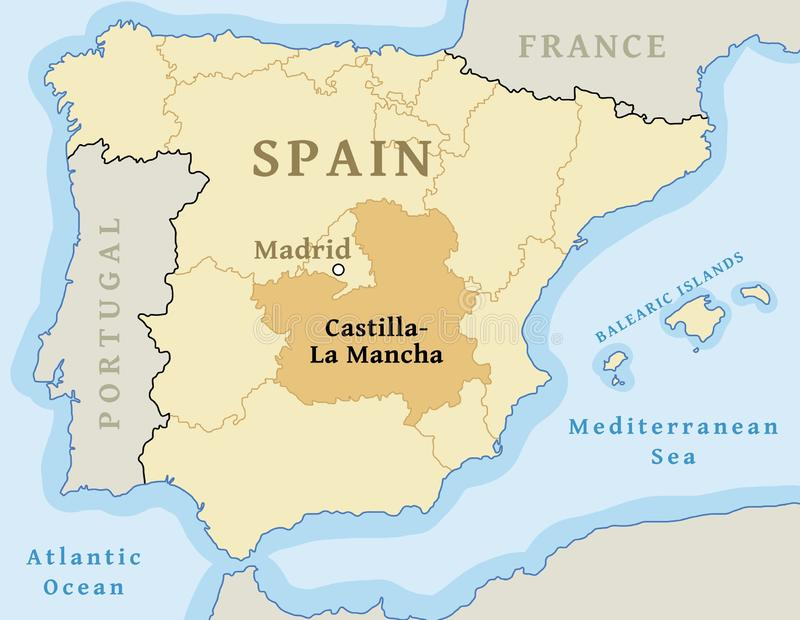 Map Of Spain La Mancha.Castilla La Mancha Map Vector Stock Vector Illustration Of