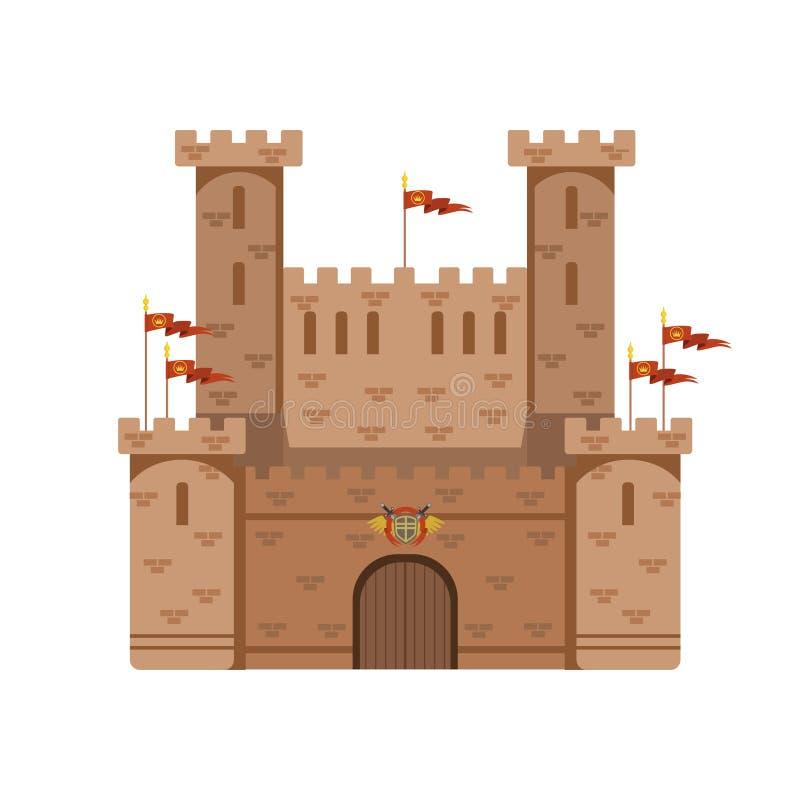Castillo antiguo con las banderas rojas, ejemplo medieval del vector del edificio de la arquitectura libre illustration