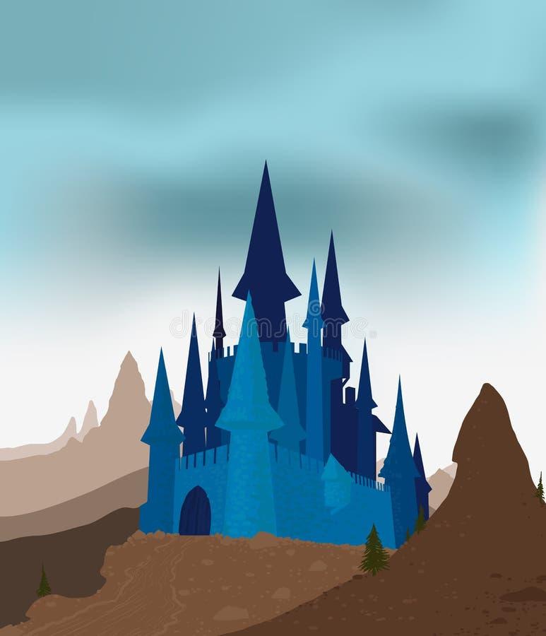 Castillo antiguo en las montañas stock de ilustración