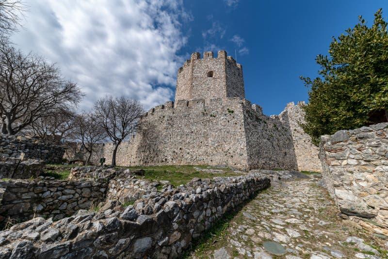 Castillo bizantino viejo del siglo XII en Platamonas Región Macedonia Grecia de Olympus imágenes de archivo libres de regalías