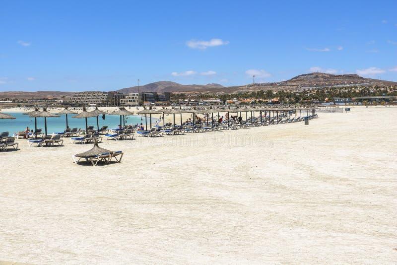 Castillo Caleta de Fuste όμορφη παραλία σε Fuerteventura στοκ εικόνα με δικαίωμα ελεύθερης χρήσης