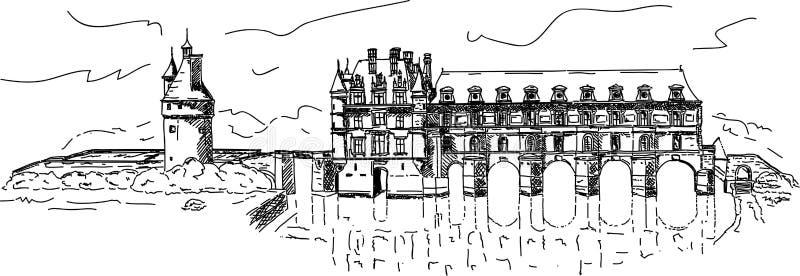 Castillo Chenonceau stock de ilustración