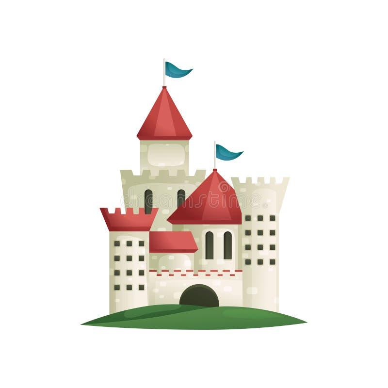Castillo complejo medieval lindo de piedras con el puente largo libre illustration