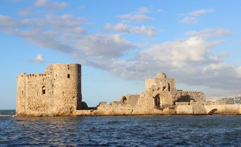 Castillo cruzado en Sidon, Líbano fotografía de archivo libre de regalías