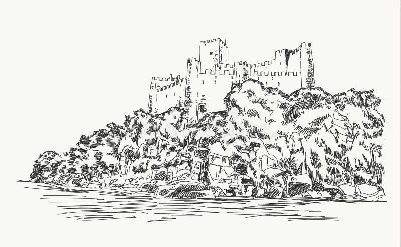 Castillo de Almorol, dibujo de la mano del vector de Portugal ilustración del vector