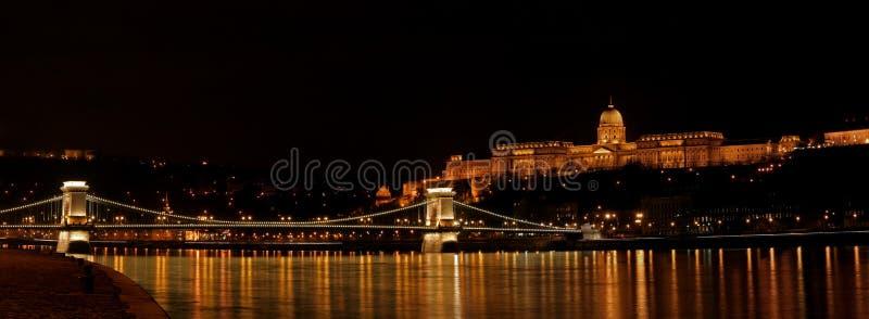 Castillo de Buda y puente de Szechenyi fotos de archivo