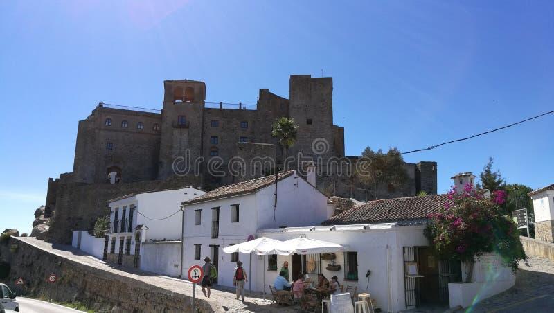 Castillo de Castellar de la Frontera - Panorámica. A sight of the Castle in Castellar de la Frontera, Cádiz. This is a beautiful village in the way to Parque stock image